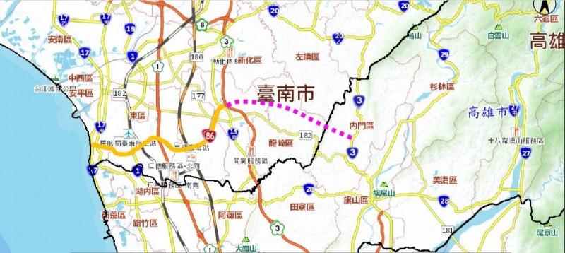 台86線向東延伸案示意圖。(南市工務局提供)