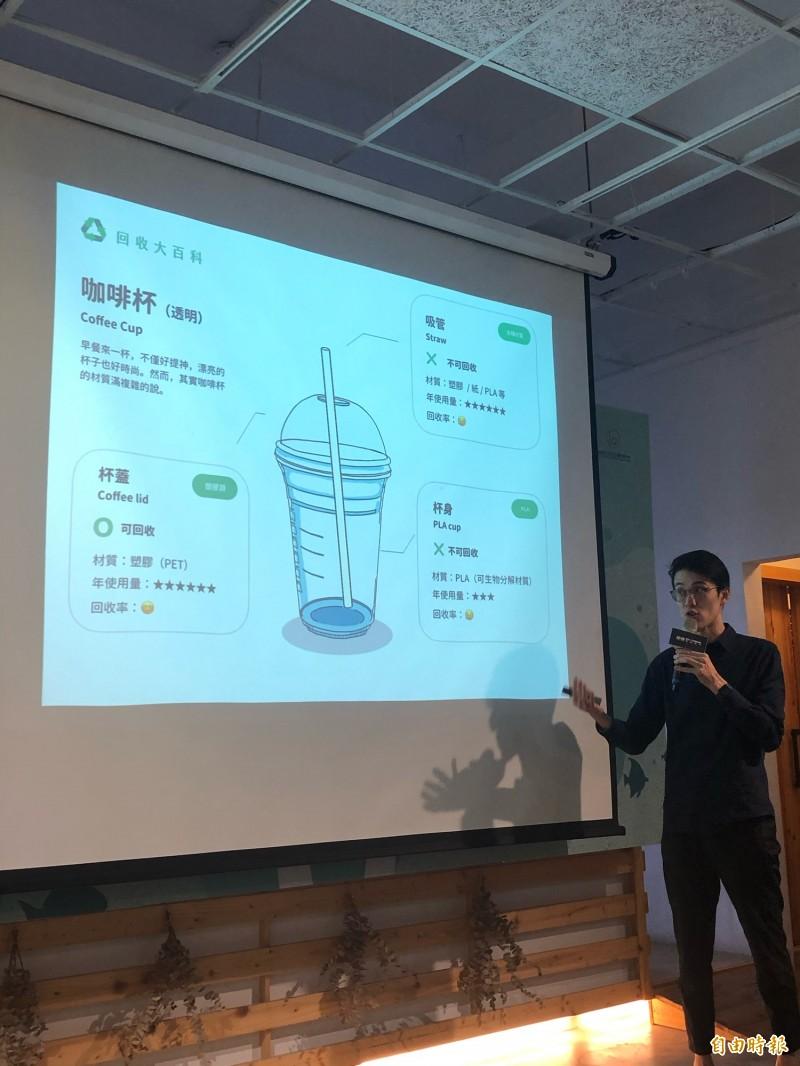 星巴克飲料杯分成吸管、杯蓋與杯身3部分,其中僅有塑膠(PET)杯蓋可回收,吸管與PLA的杯身均不可回收。(記者羅綺攝)