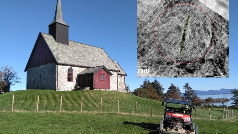 挪威教堂地底發現超過千年的維京海盜船遺跡。(畫面擷自挪威文化遺產研究所,NIKU網站)