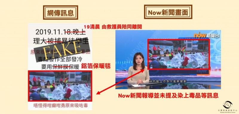 根據查核報告,傳言中的照片擷取自港媒報導,並植上錯誤指控。(擷取自台灣事實查核中心)