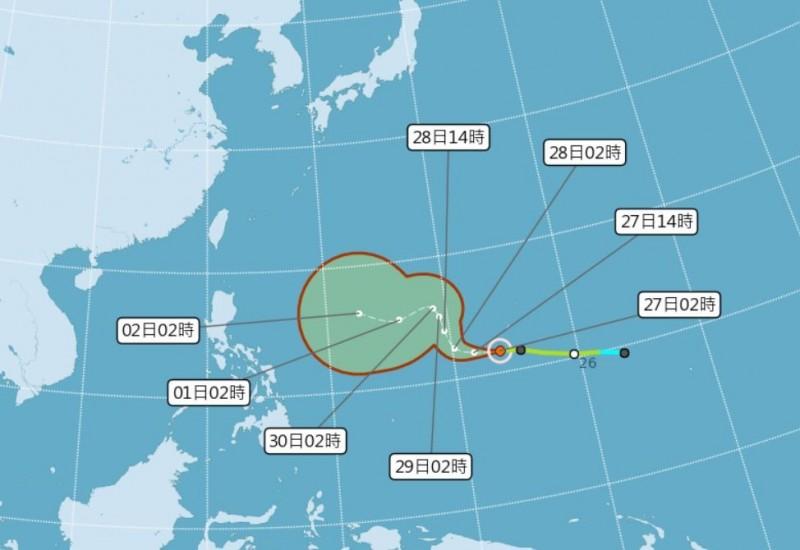 天氣風險公司分析師賴忠瑋指出,昨日生成的北冕颱風是今年11月的第6個颱風,未來有機會增強為中度到強烈颱風。(圖擷自氣象局網站)
