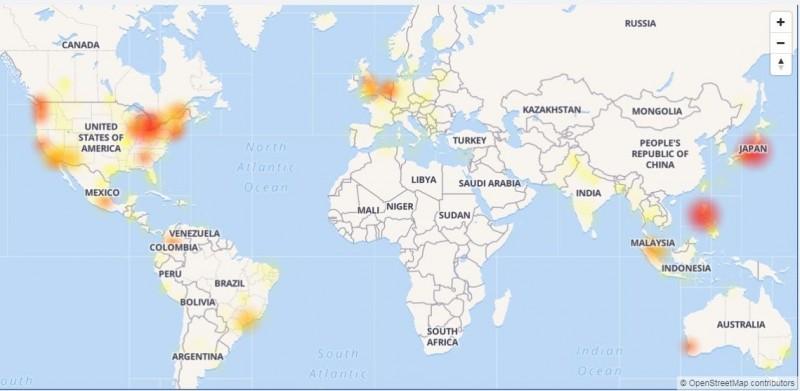 臉書、instagram、messenger晚間10點發生全球大當機。(圖取自「DownDetector」診斷網站)