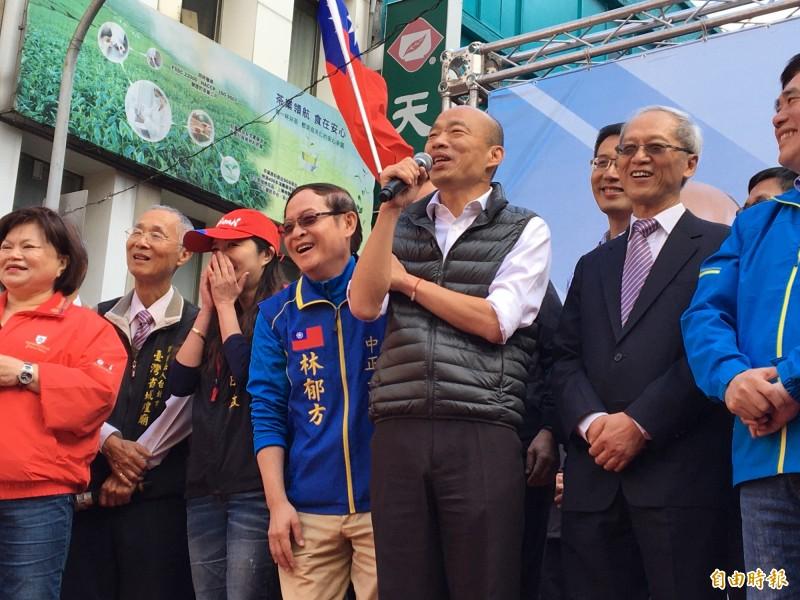 韓國瑜今在台北市有滿滿的輔選行程。(記者楊心慧攝)
