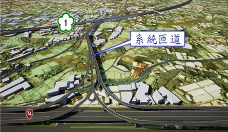 「國道1號增設銜接台74線系統交流道」計畫示意圖。(圖交通部提供)