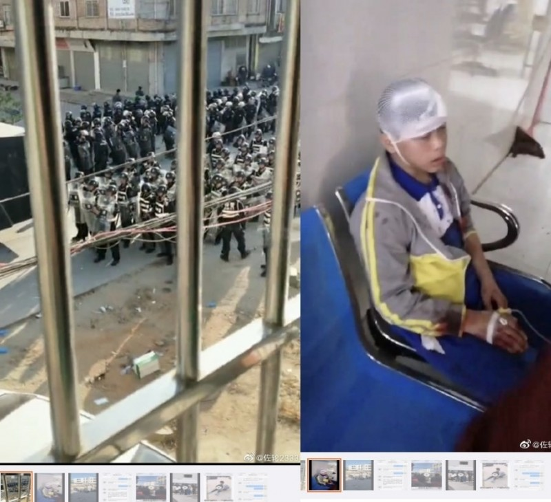 網友把廣東抗議照片和影像上傳微博,但目前已遭刪除。(中央社)