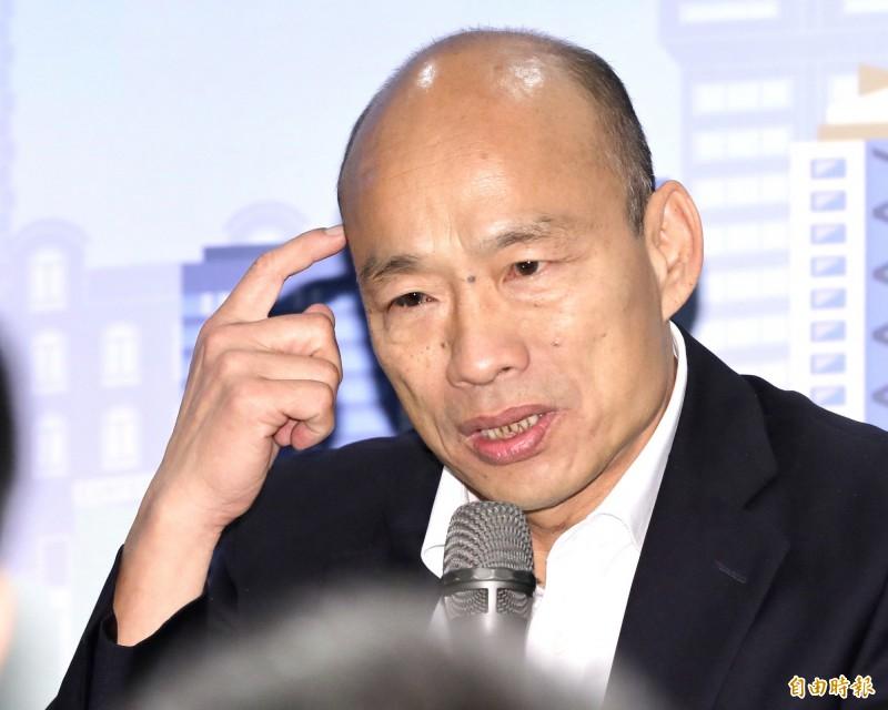 國民黨總統參選人韓國瑜28日要求支持者拒絕回答民調,今(29)日卻又改口呼籲接到民調電話,就答「唯一支持蔡英文」。(記者塗建榮攝)