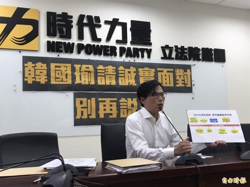 時代力量立委黃國昌今再開記者會指韓國瑜家族違法佔用國有土地作為砂石場、賺取暴利。(記者彭琬馨攝)