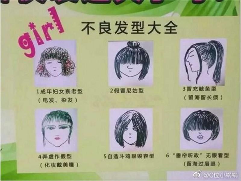 中國四川資陽一間中學公布男女學生禁止髮型。(翻攝自微博)