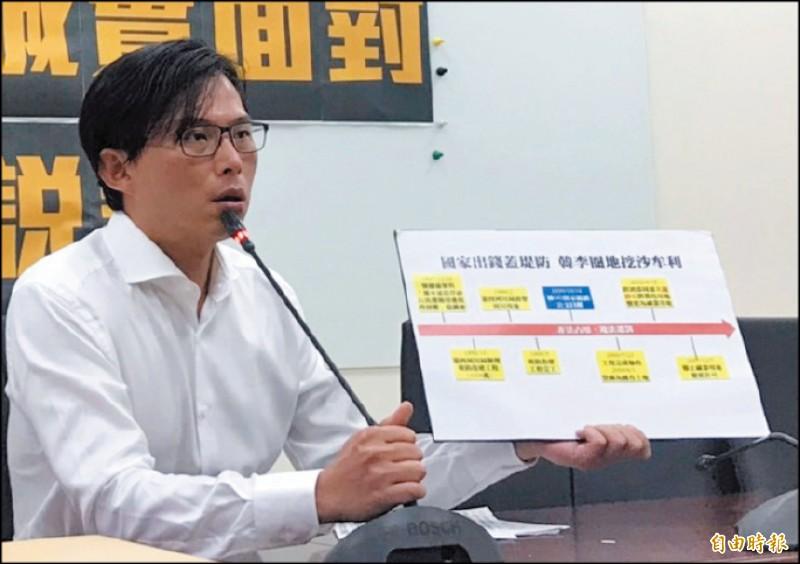 時代力量立委黃國昌昨再開記者會指韓國瑜家族違法佔用國有土地,做為砂石場、賺取暴利。(記者彭琬馨攝)
