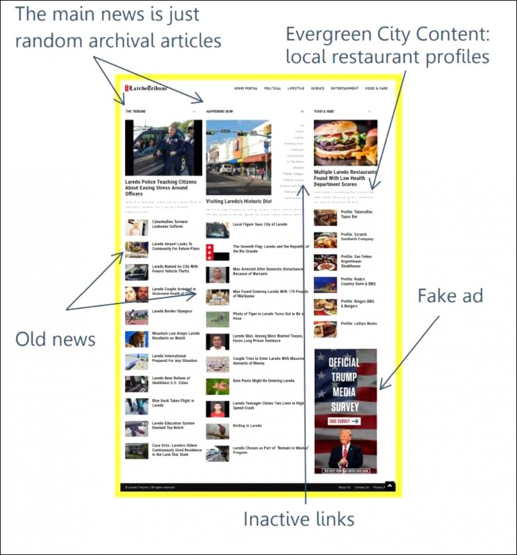 英國廣播公司踢爆laredotribune.com是騙取網路廣告費、假的新聞網站,臚列該網站上的主要新聞根本就是舊聞,甚至還有假廣告與點不進去的鏈結。(取自網路)