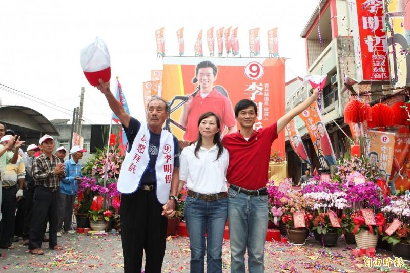 李日貴(左)把議員棒子傳給女兒李佳芬,再交棒給李明哲(右)服務已逾30年。(資料照)