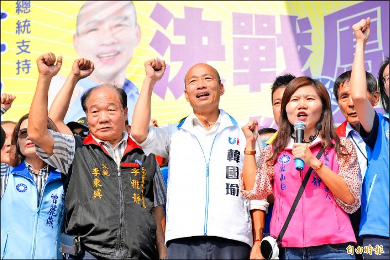 韓國瑜昨天返回高雄輔選。(記者許麗娟攝)