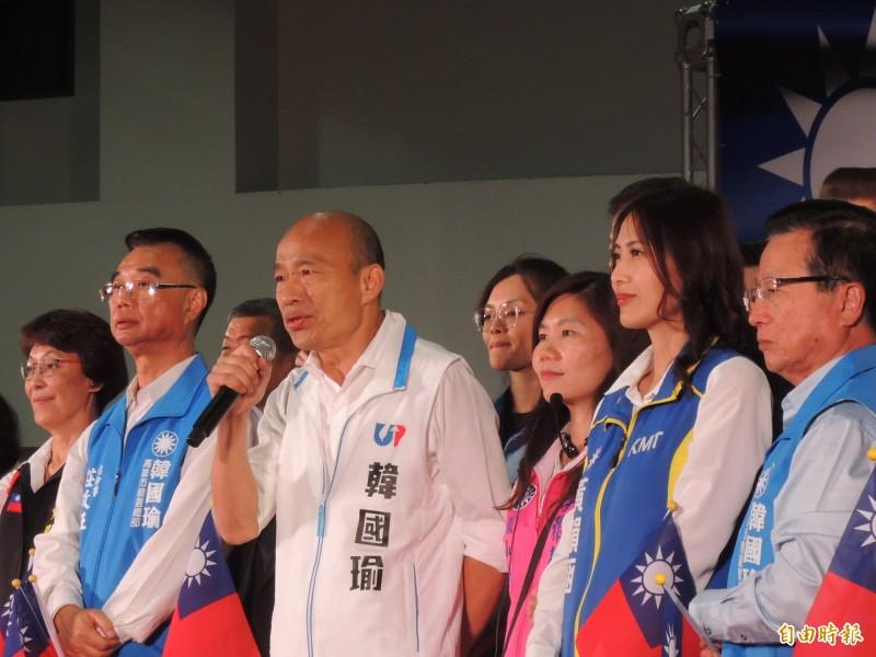 韓國瑜分享李佳芬出訪經驗,連馬來西亞人、印尼人都抱著她哭。(記者王榮祥攝)
