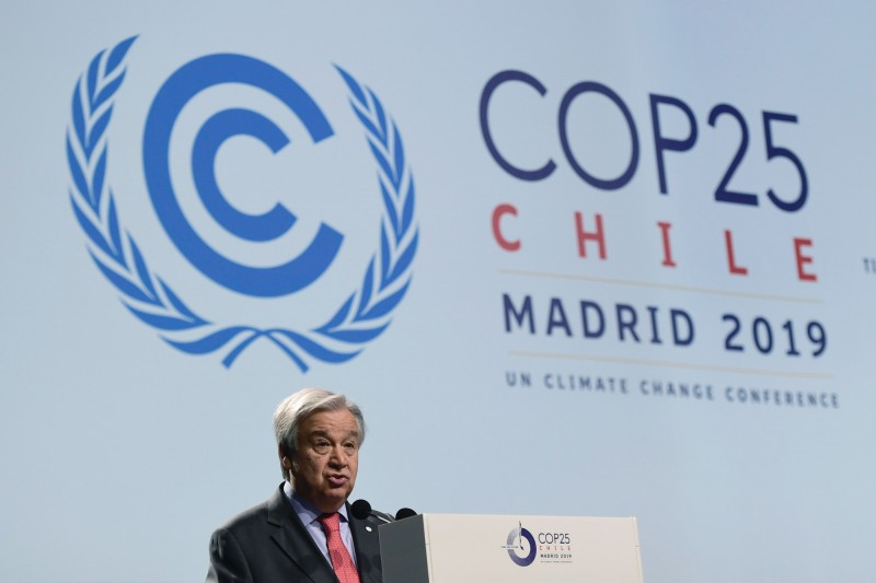 「聯合國氣候變化綱要公約第25次締約方會議」(COP25)週一在西班牙馬德里登場,聯合國秘書長古特瑞斯週日直指,氣候變遷已無法轉圜,但世界各國的努力「根本不夠」。(法新社)