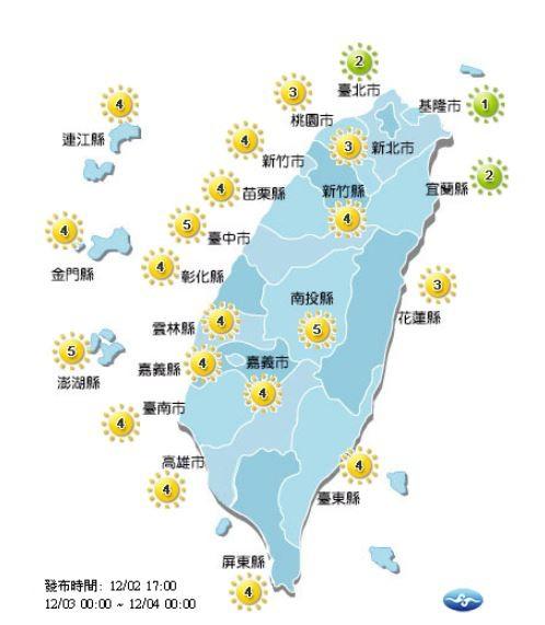 紫外線方面,明天全台各地皆為「中量級」至「低量級」。(圖擷取自中央氣象局)