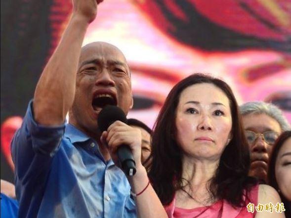 國民黨總統候選人韓國瑜夫妻(見圖)身陷砂石案爭議。黃國昌2日再質疑李佳芬家族非法佔用國有地,指稱透過圈地非法佔用。(資料照)