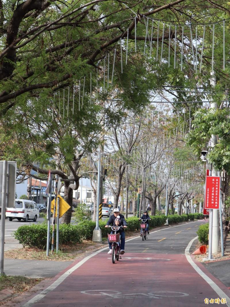 石岡區公所在東豐綠廊自行車道往情人木橋的跨橋前後裝設LED燈。(記者歐素美攝)