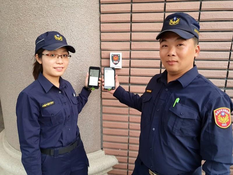 嘉市警局試辦智慧巡邏箱,平均每位員警完成簽到只需1秒,簽到更加快速、方便。(嘉市警局提供)