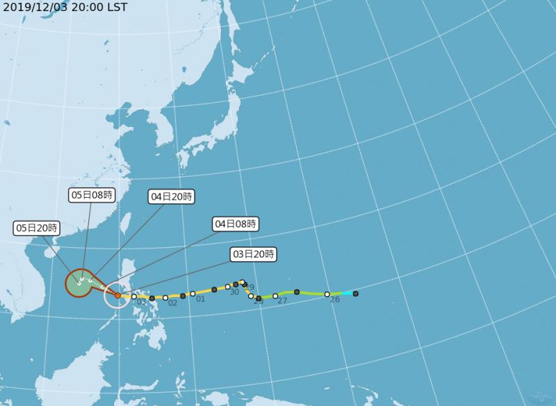 中央氣象局指出,今年第28號中颱北冕晚上8點中心位置位於北緯13.4度,東經119.7度,以每小時22公里速度朝西北西進行。(圖片擷取自中央氣象局)