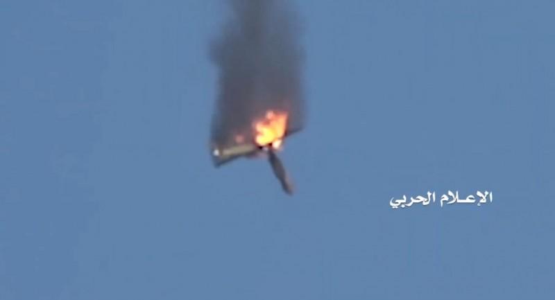 1架中國製的「翼龍-2」無人機,遭葉門叛軍擊落。(圖擷自臉書「Military Armed Forces」)