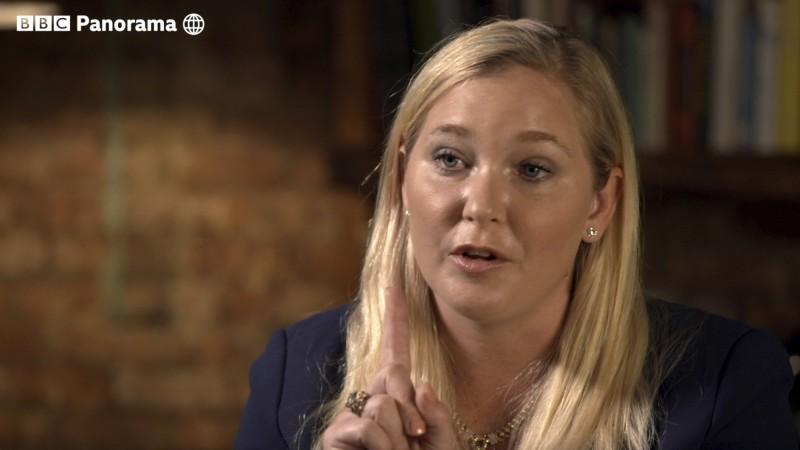 美籍女子朱弗里(見圖)上《BBC》,揭英國安德魯王子的性醜聞。(美聯社)