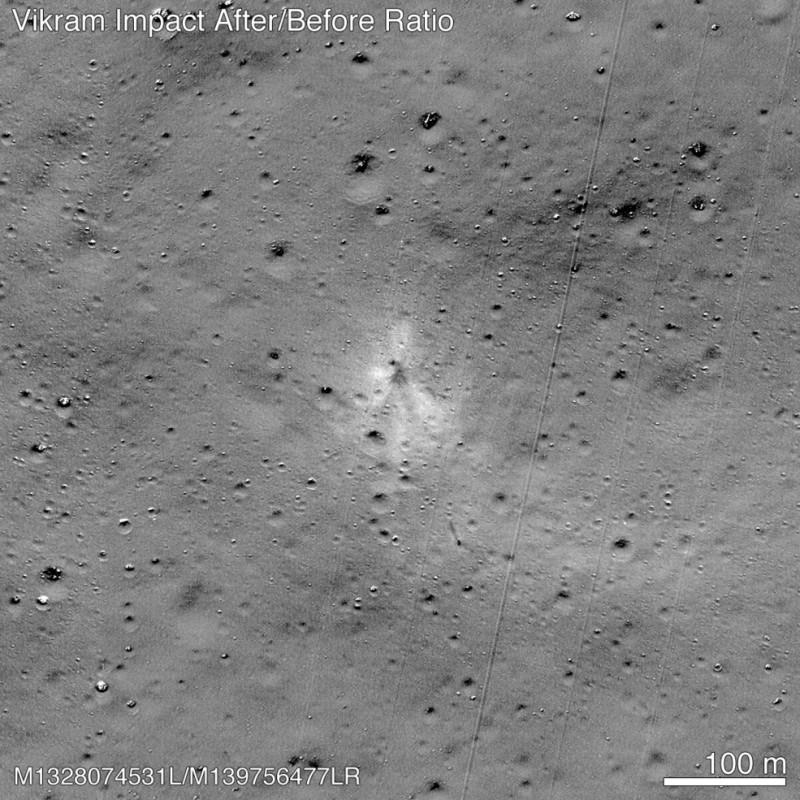 「維克拉姆」墜毀地在月球表面形成一個新坑。(法新社)