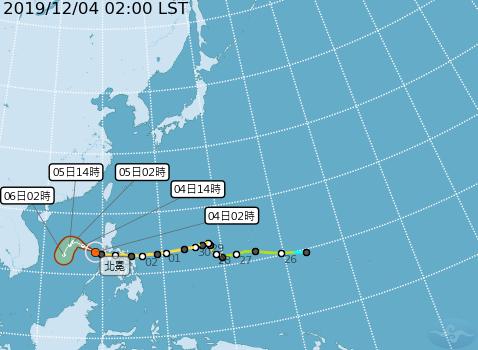北冕颱風已減弱為輕度颱風。(圖擷取自中央氣象局)