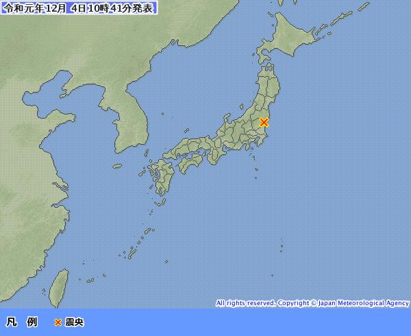 日本茨城縣在今上午再度發生規模4.8地震。(圖擷自日本氣象廳)