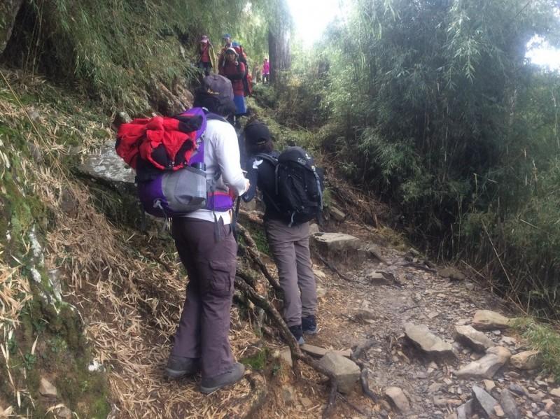玉山國家公園今年至11月的山難案件,以墜崖、滑落佔最多,其中有人為禮讓山友通過,卻站在崖邊不慎墜崖,玉管處呼籲,禮讓一定要貼靠山壁,才能確保安全。(玉管處提供)