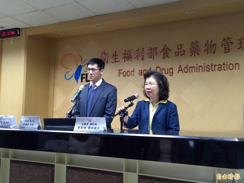 食藥署上午緊急召開記者會,發布降血糖藥訊息。(記者吳亮儀攝)