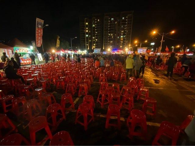 四叉貓並PO出多張現場照片,表示就在韓國瑜大進場後,現場左、右區域的椅子都沒有被坐滿,因此他估計,這場造勢的人數約在4000人左右。(擷取自PTT)