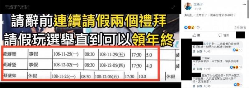 王浩宇到綠黨粉專上回覆留言。(翻攝綠黨臉書)