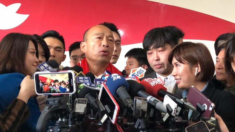 國民黨總統候選人韓國瑜認為陳宜民立委應公開道歉。(記者許麗娟攝)