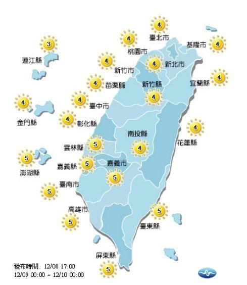 紫外線方面,明天全台各地皆為「中量級」。(圖擷取自中央氣象局)