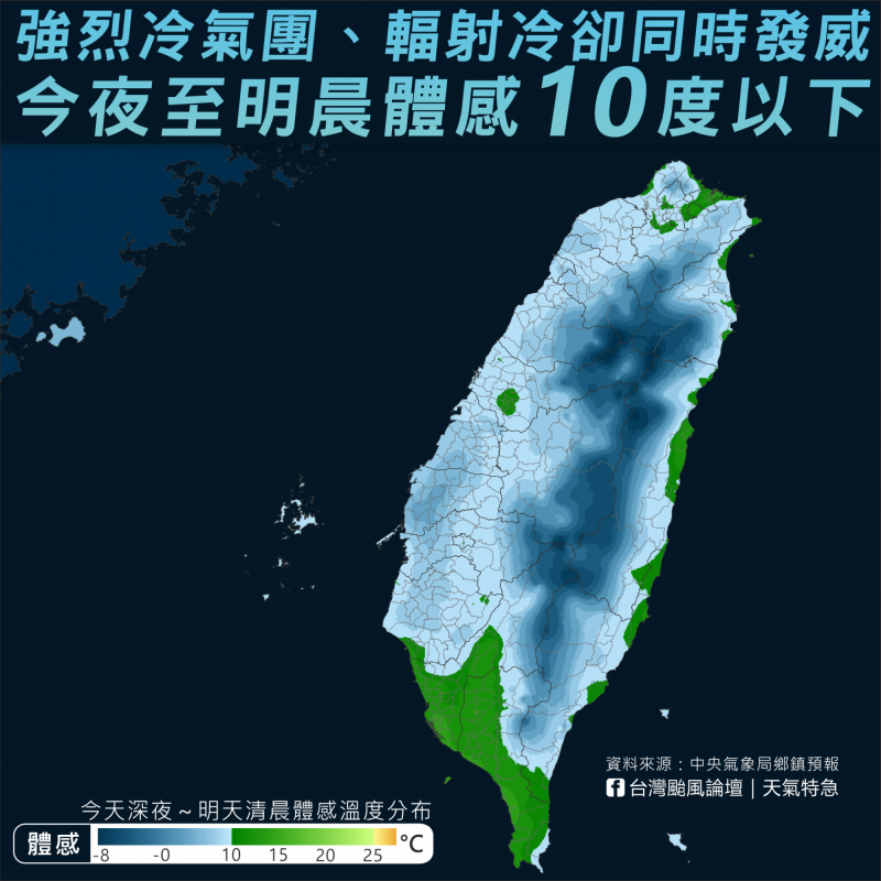 臉書專頁提醒民眾,今夜至明晨體感溫度可能降至10度以下。(擷取自台灣颱風論壇|天氣特急臉書專頁)