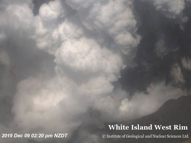 紐西蘭地震網其他角度的相機,於下午2時20分拍到噴發出來的火山灰。(路透)