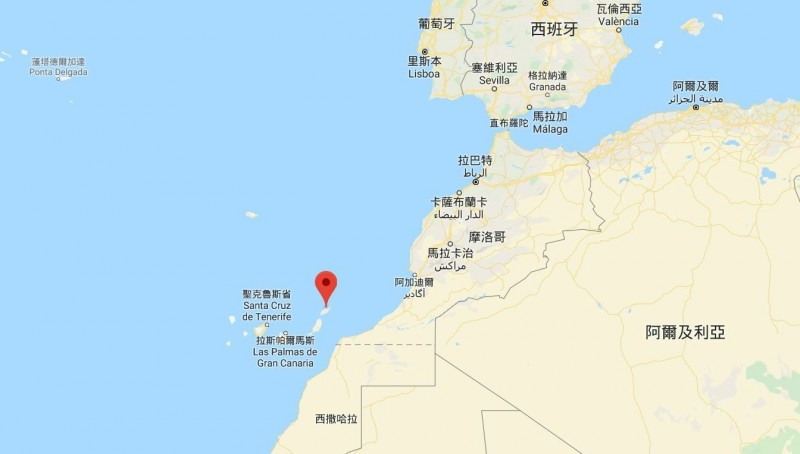 google地圖上西班牙加那利群島之蘭薩羅特島首府「阿雷西非」所在位置(紅點處)。(記者黃明堂翻攝)