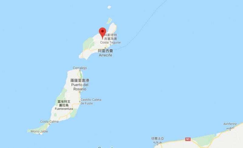 google地圖上西班牙加那利群島之蘭薩羅特島首府「阿雷西非」所在位置。(記者黃明堂翻攝)