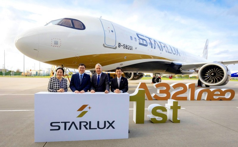 A StarLux Airlines plane is pictured in an undated photograph. The Ministry of Transportation and Communications yesterday approved the carrier's application to operate.  Photo courtesy of Starlux Airlines