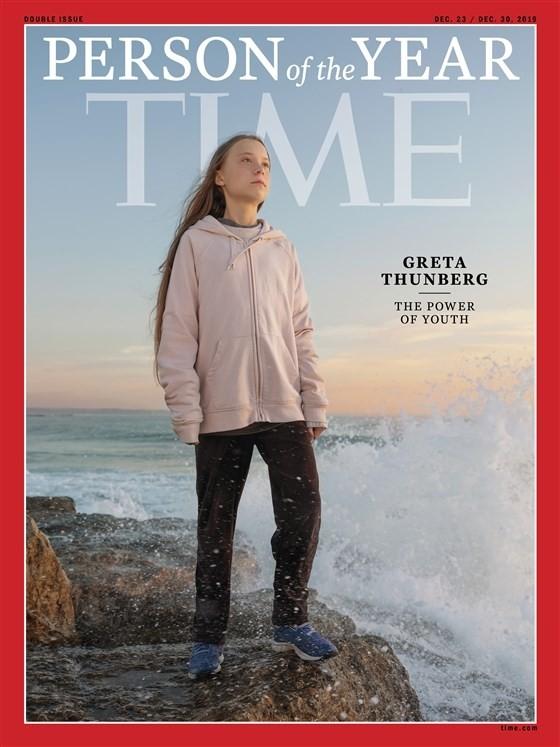 16歲瑞典女孩桑伯格(Greta Thunberg),獲選為2019年時代雜誌風雲人物。(翻攝自時代雜誌)