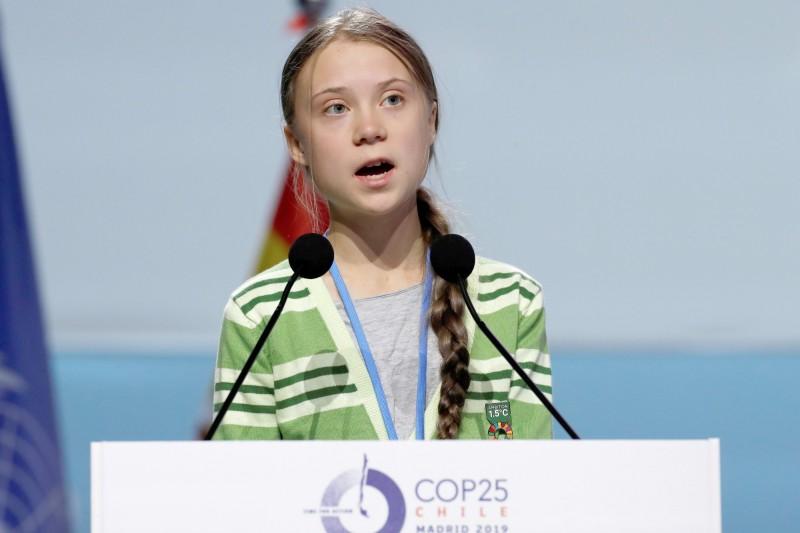 瑞典環保少女童貝里,近日譴責盜伐者槍殺守護亞馬遜雨林的巴西原住民。(歐新社)