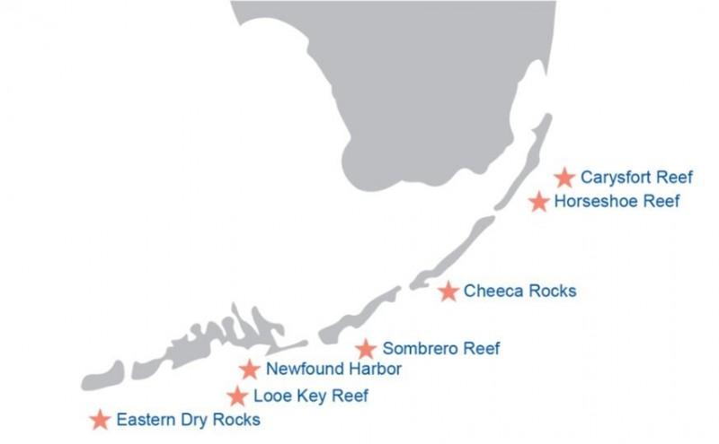 計畫將資助佛羅里達礁島群國家海洋保護區中,7個重要珊瑚礁地點的恢復。(圖擷自NOAA官網)