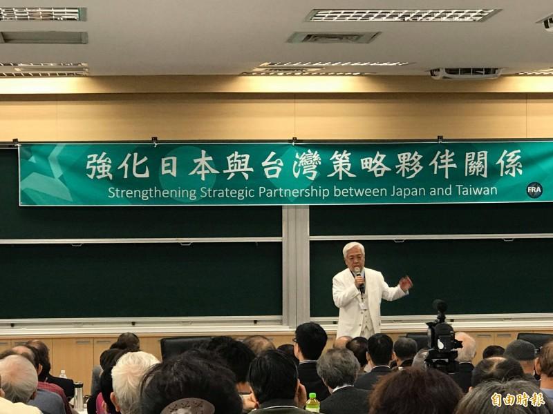 日本國際問題學者藤井嚴喜今出席論壇時,呼籲日本政府應該效法美國設立台灣關係法。(記者彭琬馨攝)