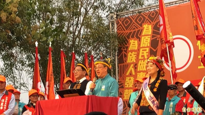 副總統陳建仁呼籲原住民鄉親支持伍麗華。(記者羅欣貞攝)