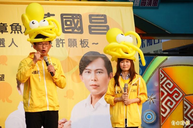 黃國昌15日為張怡競總成立站台。(記者陳彥廷攝)