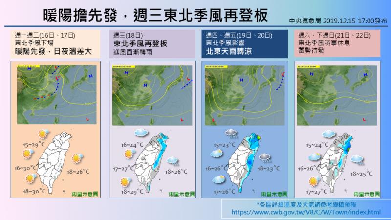氣象局指出,週三起東北季風逐漸影響全台,北東迎風面將有雨勢。(圖取自中央氣象局)
