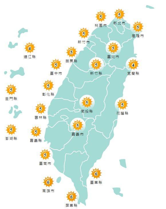 今日各地紫外線預報概況。(圖擷取自中央氣象局)