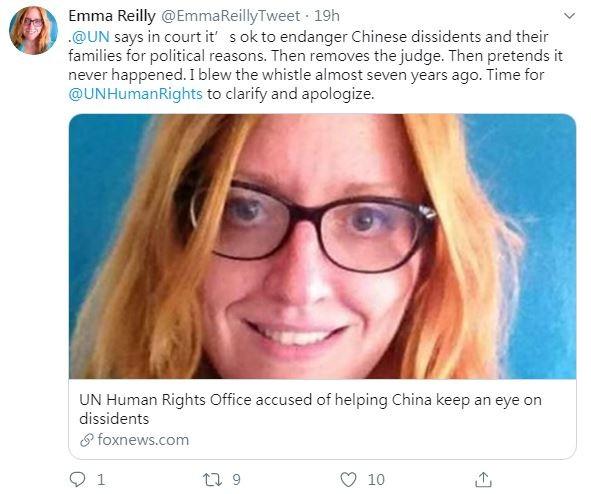 一位聯合國前雇員萊莉10月曾向美國高階外交官與國會議員指控,聯合國人權事務高級專員辦事處從2013年開始,持續為中國提供受中共迫害人士,如西藏、新疆維吾爾族的出席名單,以此討好中國當局。(圖擷取自Twitter「Emma Reilly」)