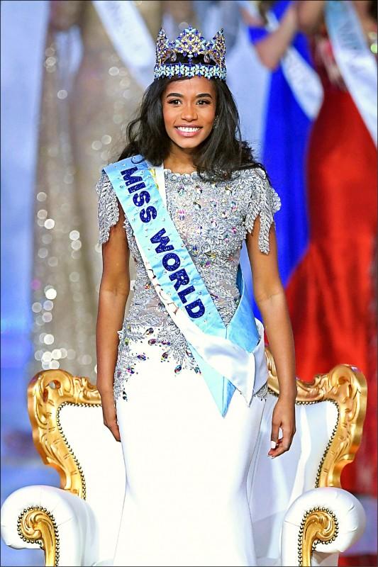 23歲的牙買加佳麗辛荷(Toni-Ann Singh),14日在倫敦舉行的「世界小姐」總決賽中封后。(法新社)