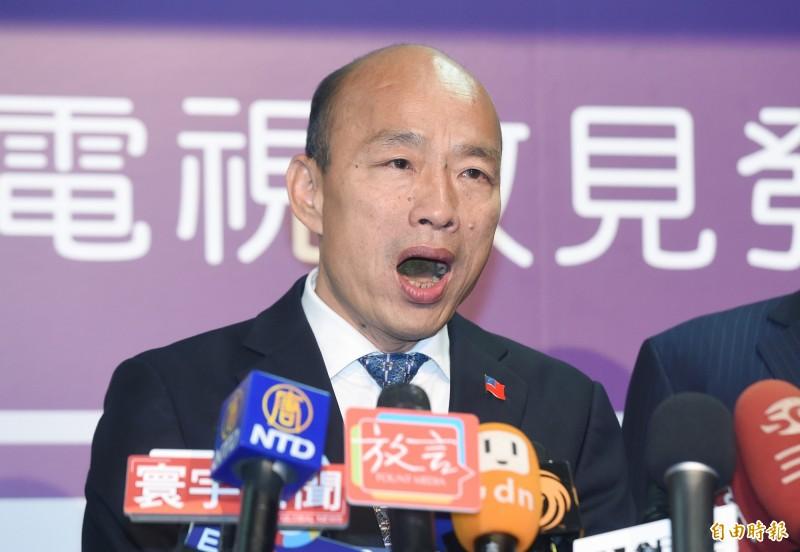 2020年總統大選首場電視政見會18日登場,國民黨總統候選人韓國瑜被外界認為把政見會當成辯論會,甚至現場造謠。(資料照)